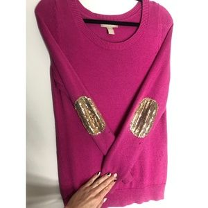 Banana Republic Pink Sweater Gold Elbow Patches
